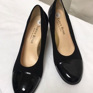 Taryn Rose black patent and suede shoe size 6